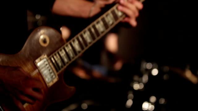 Rock musicians closeup video