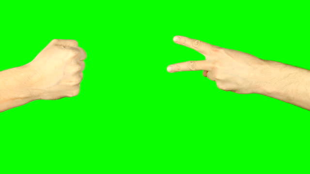 Rock paper scissors hand game. Two hands top aerial view. Green screen chroma key alpha matte. Hand gestures competition. Make choice. Random selection methods. Winner loser tournament. Play game video