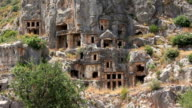 Rock-cut tombs of the ancient Lycian necropolis. Myra old name - Demre Turkey video