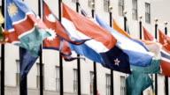 30 Rockefeller Center international flag slow motion video