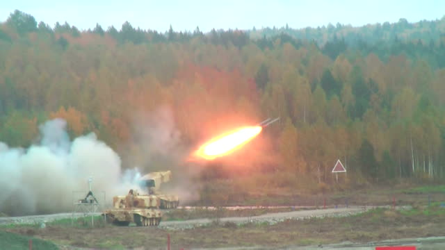 Rocket launch by TOS-1A system video