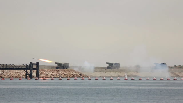 rocket salvo - rocket artillery attack on the coast video