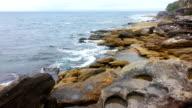 Rocks and ocean at Bondi Beach video