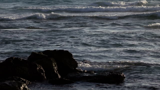 Rocks Standing in Surf at Dusk video