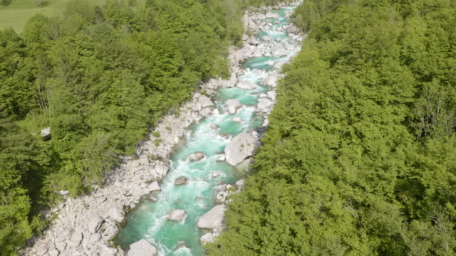 AERIAL Rocky bed of a beautiful mountain river video