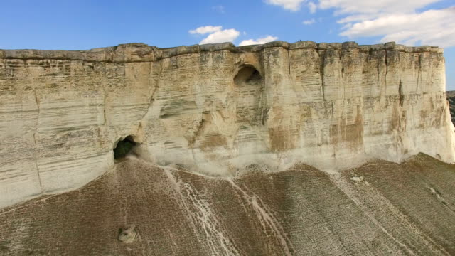 Rocky cliffs with caves and grottoes, aerial video, video