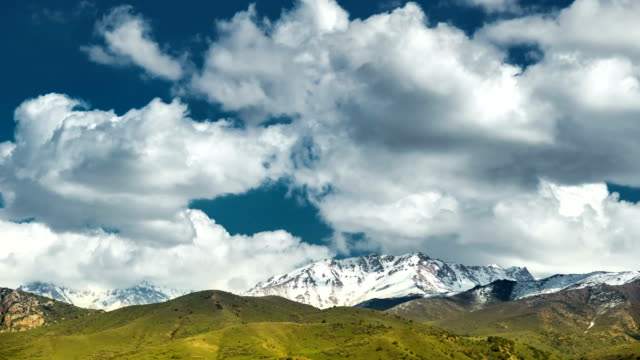 Rocky Mountains snow peaks clouds fast timelapse video