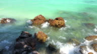 Rocky pier of Sangwan beach , Pattaya , Thailand. video