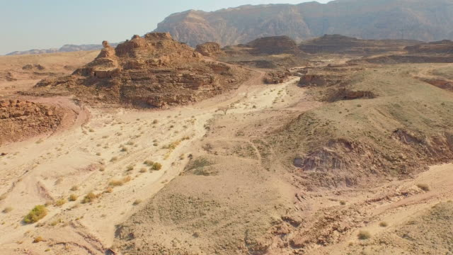 Rocky ridge in the desert. Aerial view. video