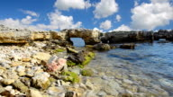 Rocky seashore against the blue sky video