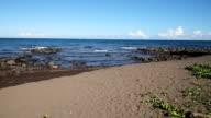 Rocky volcanic beach beach and waves video