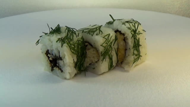 Roll with bread, parsley, cabbage and grilled salmon video