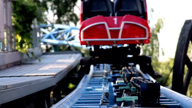 Roller coaster pathway slowly moving video