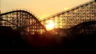 Roller coaster sunset video
