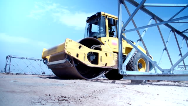 Roller Compactor at  Construction site video