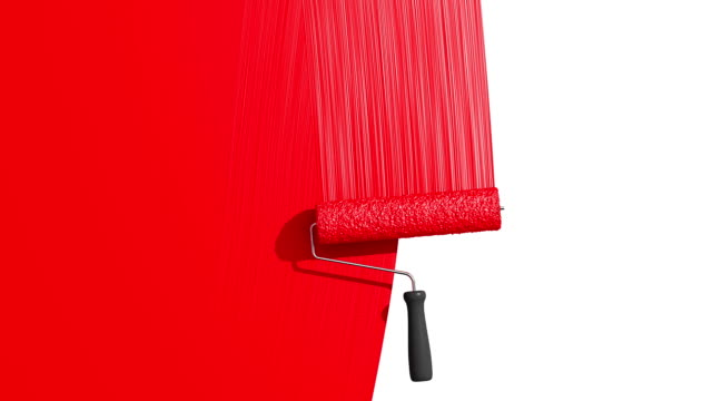 Roller Painting Red color. Useful for Transitions. video