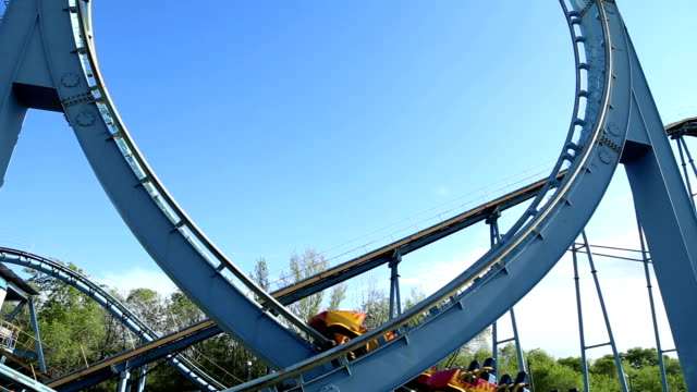 Rollercoaster train is moving along the loop video