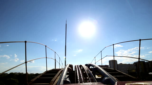 Rollercoaster train is moving video