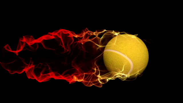 rolling tennis ball with fire trail,alpha channel included video