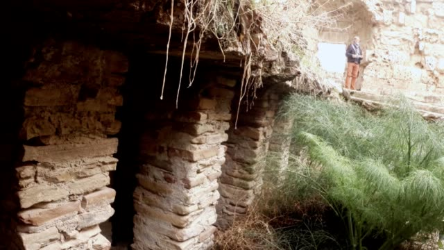 Roman baths system heating of floor  ruins of antique town Salamis east Cyprus Famagusta video