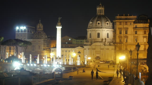 Roman forum at night, Rome, Italy video