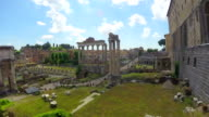 Roman Forum open-air museum, beautiful clouds flying above antique city video