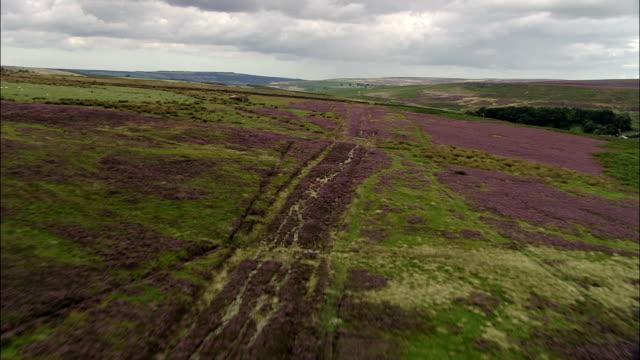 Roman Road On Wheedale Moor  - Aerial View - England, United Kingdom video
