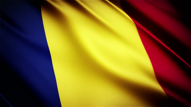 Romania realistic national flag seamless looped waving animation video