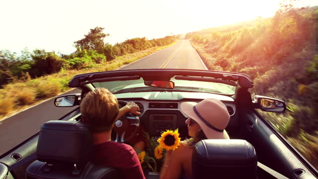 Romantic Convertible Drive into Sunset video