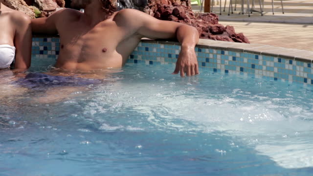Romantic couple at pool video