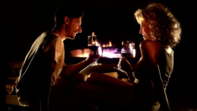 Romantic Couple By The Fireplace video