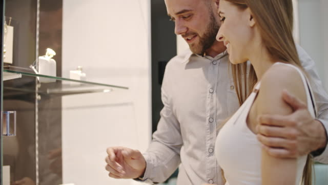 Romantic Couple in Jewelry Shop video