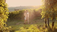 SLO MO Romantic couple in the vineyard video