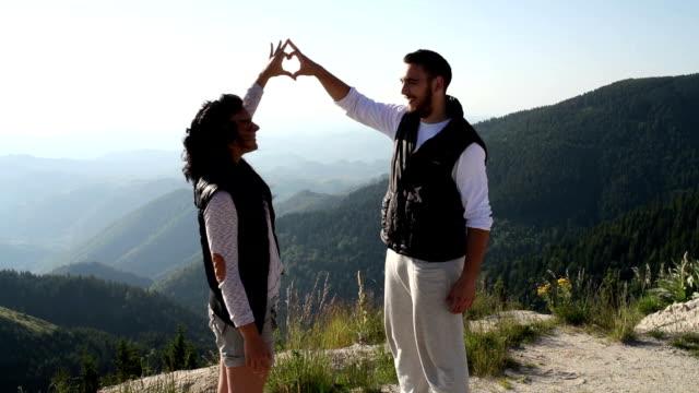 Romantic couple on hiking video