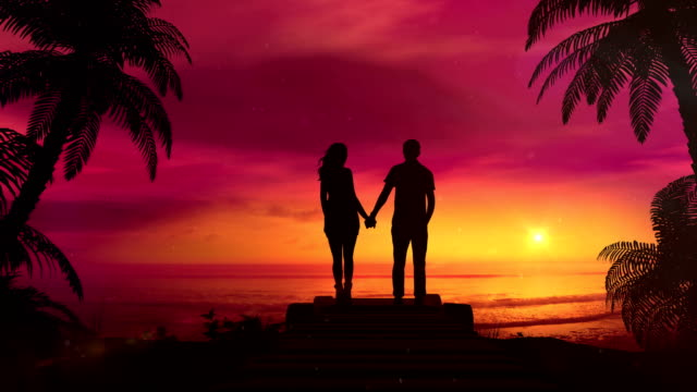 Romantic Couple Watching The Red Sunset In The Ocean video
