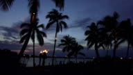 Romantic dream beach with torches in the evening like paradise video