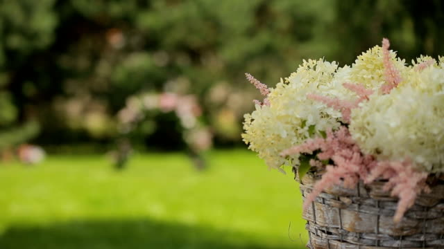 romantic floral composition for a wedding or special event, white and pinky video
