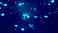 Romantic Hearts Blue Loopable Background video