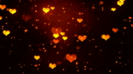 Romantic Hearts Gold Loopable Background video