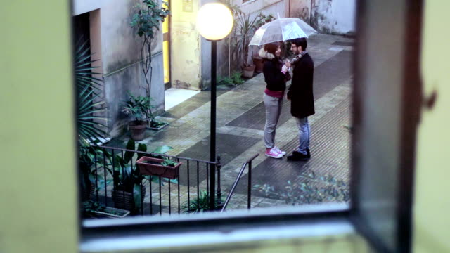 romantic kiss in the rain video
