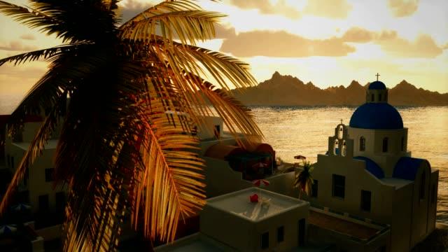 Romantic Mediterranea Greek Coastal Village Travel Background Sunset Ocean View video