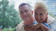 Romantic middle age couple in City video
