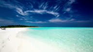 Romantic sandy beach with amazing clean lagoon in Maldives video