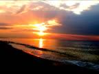 Romantic sunset at the beach video