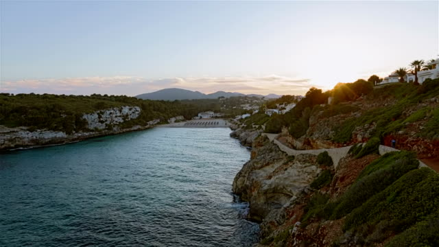 Romantic sunset on Cala Romantica on Spanish Balearic island of Majorca / Spain video