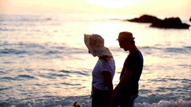 Romantic sunset on sea video