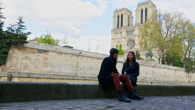 Romantic Young Asian Couple Walking in Paris video