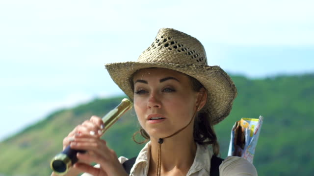 Romantic Young Travel Girl Looks At Spyglass video