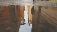 Rome alleys reflected in rain water video