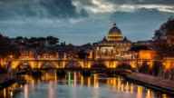 Rome Tiber and St Peters Basilica Vatican Italy - Time Lapse video